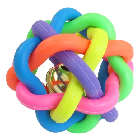 Unique Bargains 6.5cm Diameter Cord Woven Jingle Bell Pet Dog Play Colorful Rubber Ball (Jingle Crinkle Ball)