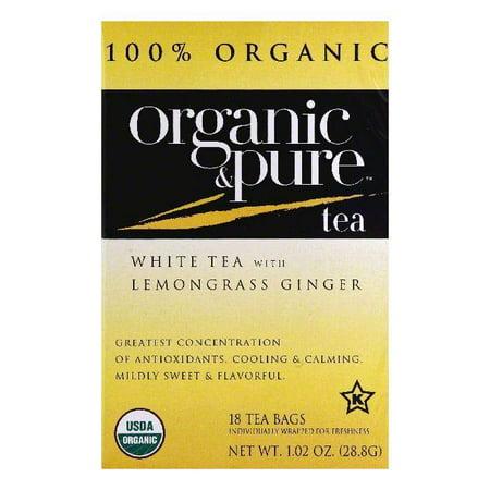 Organic & Pure Bags with Lemongrass Ginger Organic White Tea, 18 ea (Pack of 6) Organic Pure Life