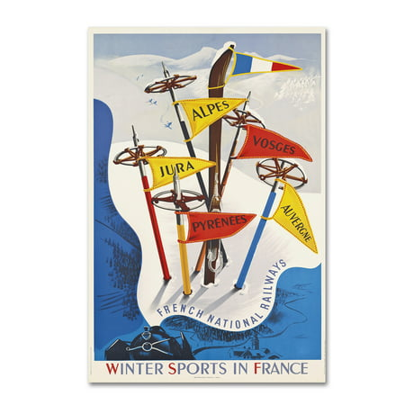 Trademark Fine Art 'France Winter Sports' Canvas Art by Vintage Apple Collection