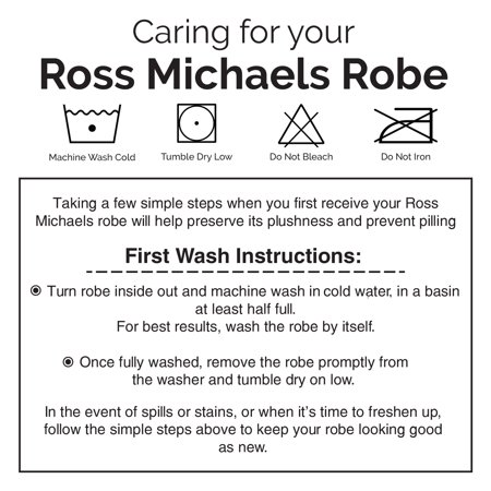 ROSS MICHAELS Mens Plush Shawl Collar Kimono Hooded Bath Robe (Navy, L/XL)