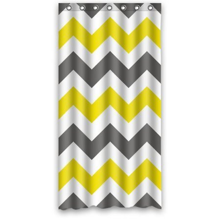 GreenDecor Chervon Wave Series Gray White And Yellow Waterproof Shower Curtain Set with Hooks Bathroom Accessories Size 36x72 inches (Gray Yellow Shower Curtain)