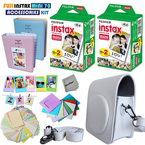 FujiFilm Instax Mini 70 ACCESSORIES KIT Includes: White Leather Like Mini 70 CASE + 40 Instax Film + 2 Photo Albums + 60 Sticker Frames + Colorful Hanging Frames + Hero Fiber Cloth + MORE Fujifilm Mini 70 ACCESSORIES Bundle
