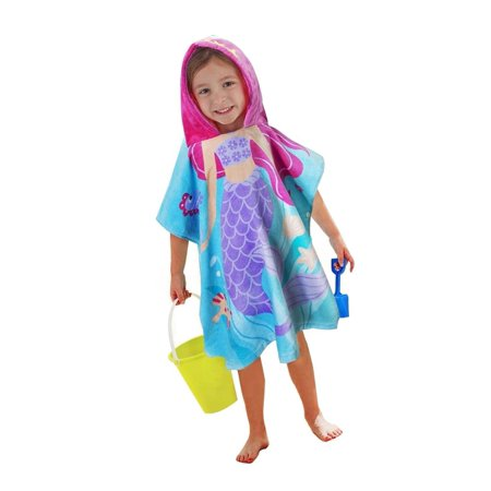 Little Mermaid 100% Cotton Hooded Towel for 2-6 Years Girls Bath Beach Pool T...](Little Mermaid Towel)