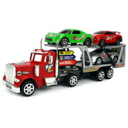 MS Power Trailer Children's Friction Powered Toy Truck w/ Trailer, 3 Toy Cars (Colors May Vary)