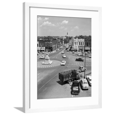 1950s Main Street of Small Town America Town Square Lebanon Tennessee Framed Print Wall