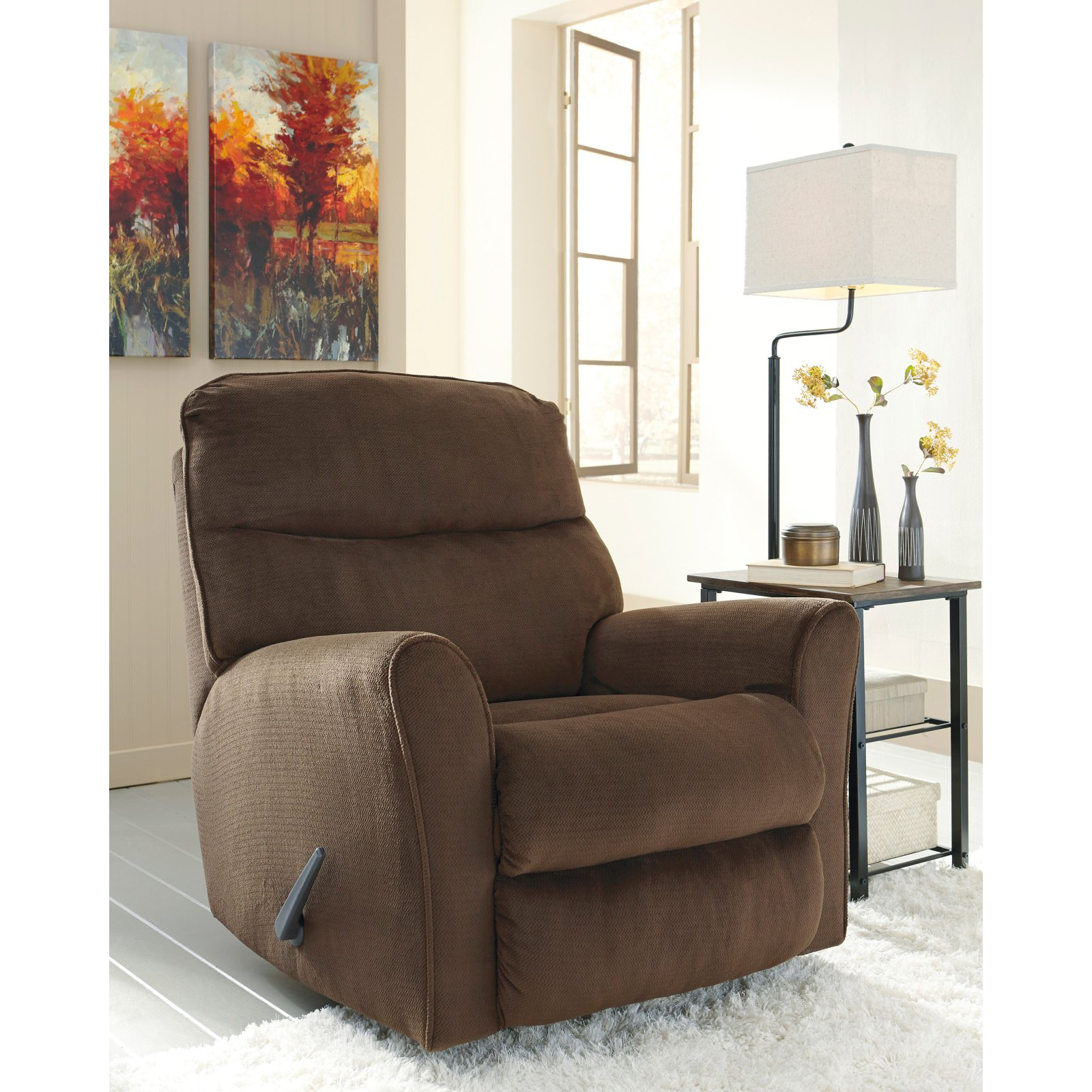 Flash Furniture Signature Design by Ashley Cossette Rocker Recliner in Chocolate Fabric