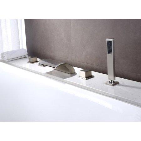 Sumerain International Group Deck Mount Waterfall Faucet with Hand Shower 4 Deck Mount Bath Faucet