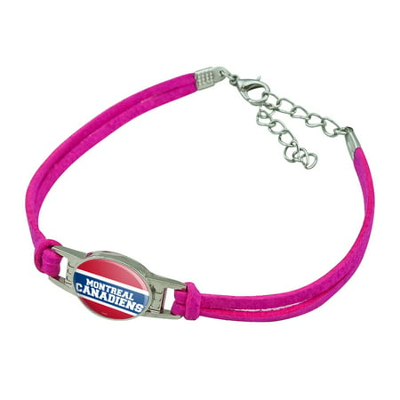 NHL Montreal Canadiens Logo Novelty Suede Leather Metal Bracelet Montreal Canadiens Leather