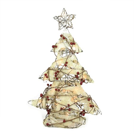 Holographic Christmas Tree.22 Pre Lit Burlap And Berry Rattan Christmas Tree Table Top Decoration