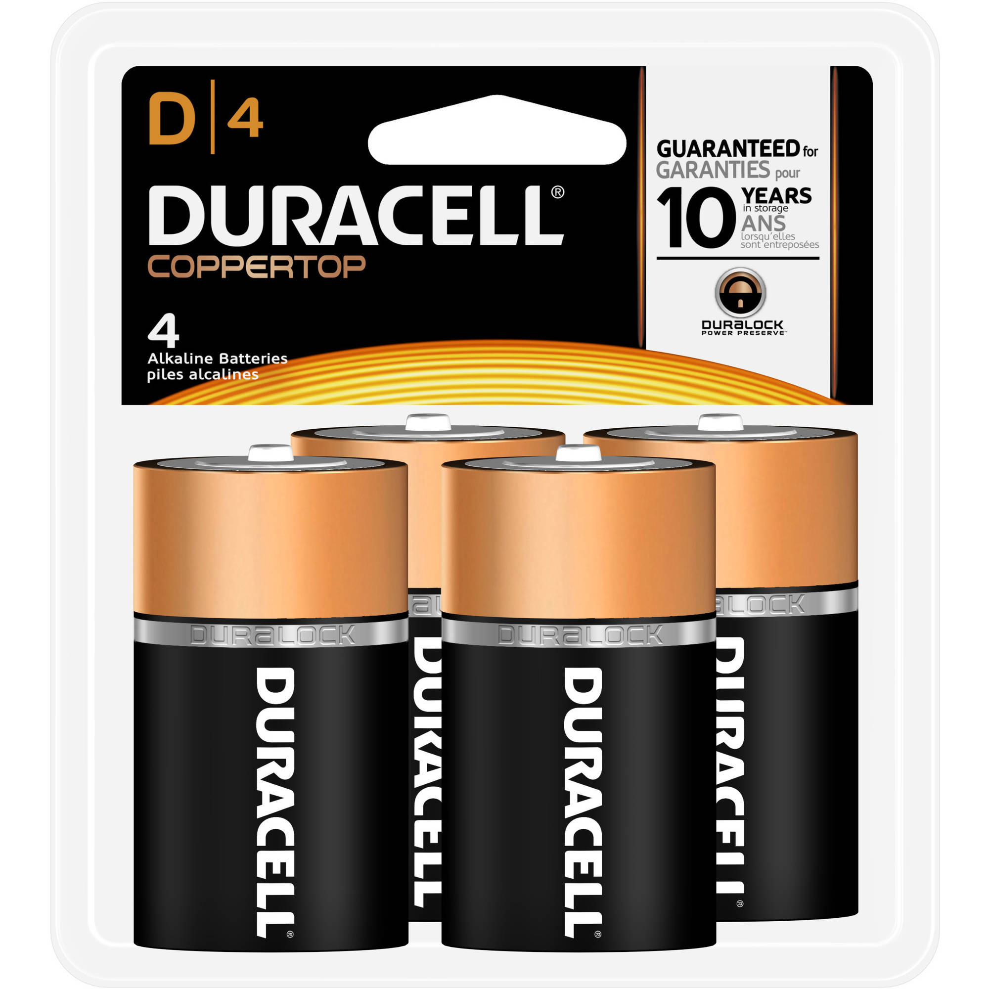 Duracell Coppertop Alkaline Household Batteries, D, 4 Household Batteries/Pack