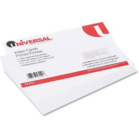 (4 Pack) Unruled Index Cards, 5 x 8, White, 100/Pack