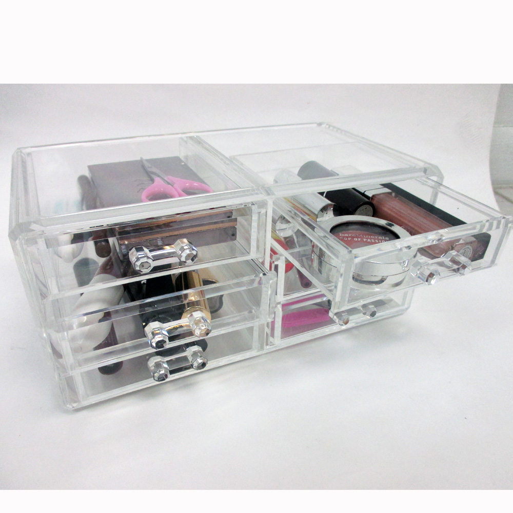 1 Large Acrylic Drawer Bathroom Organizer Cosmetic Clear Case 5 Storage Box