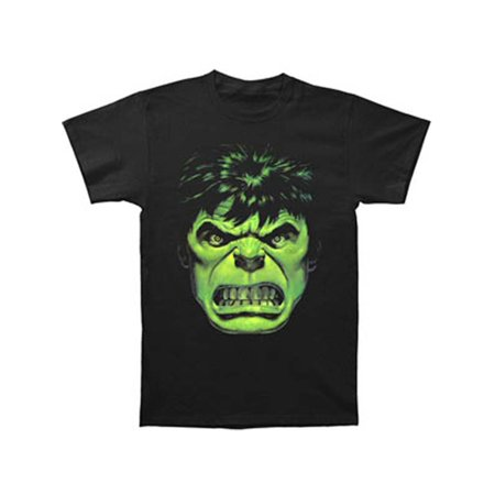 Incredible Hulk Men's  Angry Face T-shirt Black (Hulk Muscle T Shirt)