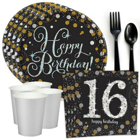 sparkling celebration 16th birthday standard tableware kit (serves 8)