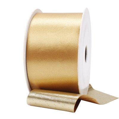 LaRibbons 1 1/2inch Reversible Metallic Satin Ribbon Gold/Gold 10 Yard (Reversible Satin Ribbon)