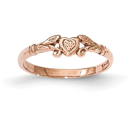 14K Rose Gold Textured Mini Heart Baby Ring