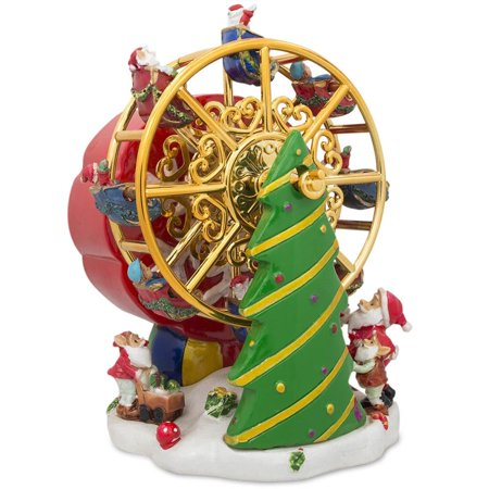 - Rotating Ferris Wheel with Santa and Christmas Tree Musical Figurine