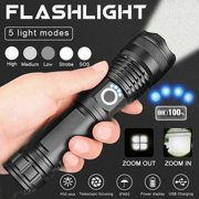 90000 Lumens Powerful Flashlight, USB Rechargeable Waterproof XHP50 Searchlight Super Bright 5 Modes LED Flashlight Zoom Bar Torch for Hiking Hunting Camping Outdoor Sport (Battery Included)