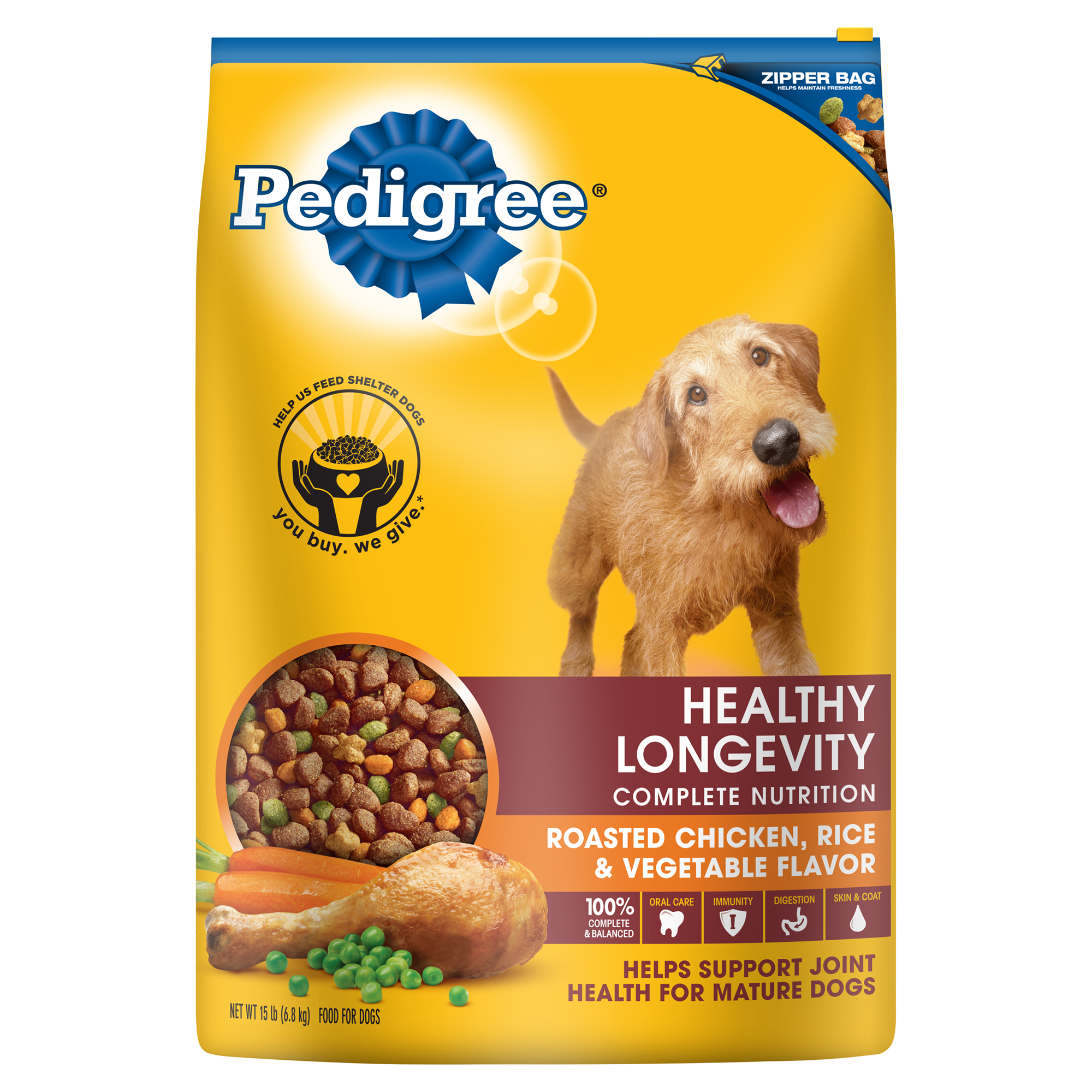 PEDIGREE Healthy Longevity Roasted Chicken, Rice & Vegetable Dry Dog Food 15 Pounds