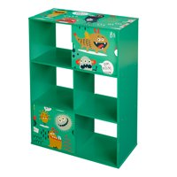 Send Monsters Kids Bookshelf, 3-Tier with 2 Sliding Doors