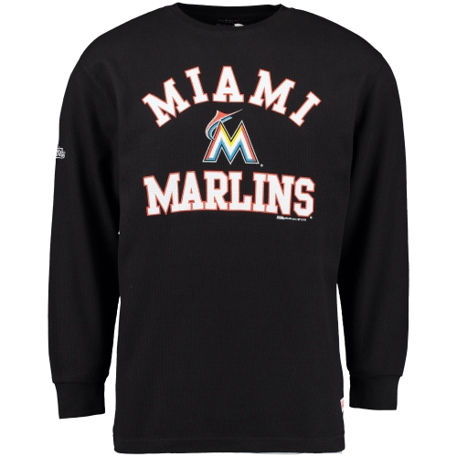 Miami Marlins Stitches Wordmark Thermal Long Sleeve T-Shirt - Black