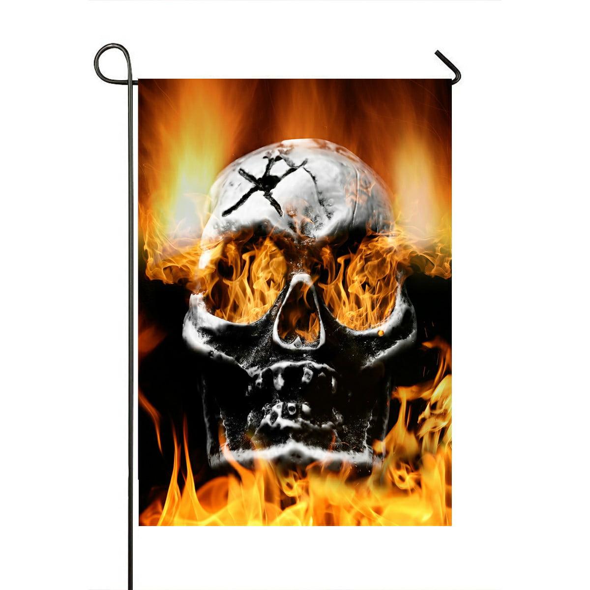 Eczjnt Very Scary Flaming Skull Concept Of Horror Garden Flag Outdoor Flag Home Party Garden Decor 28x40 Inch Walmart Com Walmart Com