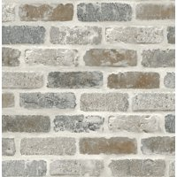 Washed Faux Brick Wallpaper Peel & Stick GW1003 White / Gray / Brown