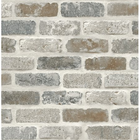 Nextwall Washed Faux Brick Nw30500 Peel Stick Wallpaper White Gray Brown