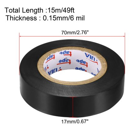 "Insulating Tape ,PVC Electrical Tape,  Single Sided, 21/32"" Width, 49ft Long, 6 mil Thick, Black, 2pcs - image 3 of 4"