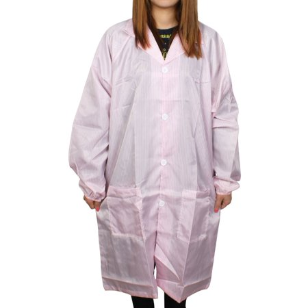 Unique Bargains Unisex Long Sleeve Stripes Pattern Clean Room Anti Static Overalls Coat Pink (Oversized Striped Overalls)