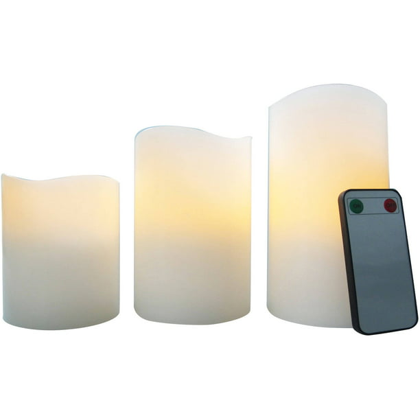 Better Homes & Gardens Flameless LED Pillar Candles 3-Pack Vanilla Scented