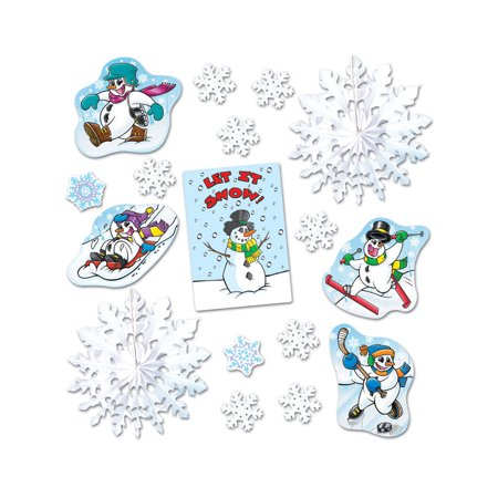 Winter Snow Decorations (17 Piece Let It Snow Winter Decorama Holiday Decorations)