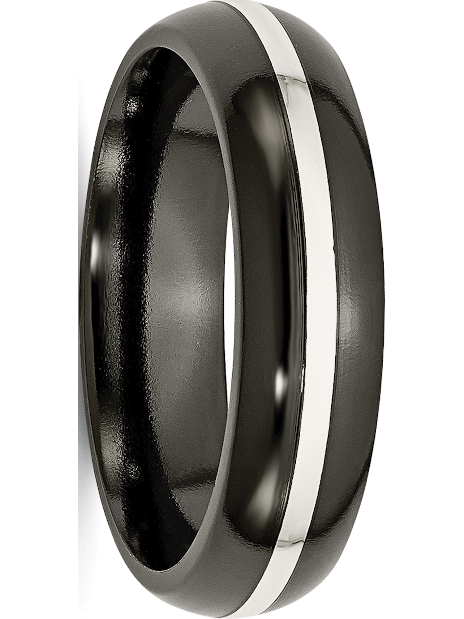 Titanium Black Ti /& Sterling Silver Inlay 6mm Polished Band