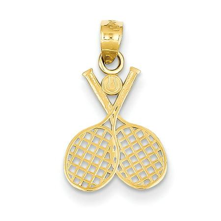 14k Double Tennis Racquet Charm