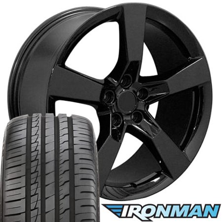 20x9 Wheels, Tires and TPMS Fit Chevy Camaro - Camaro SS Style Black Rims w/Tires - Non-Staggered
