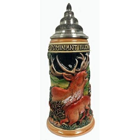 Siegfried Stein (Dominant Buck Deer Relief LE German Stoneware Beer Stein .75 L Made in)