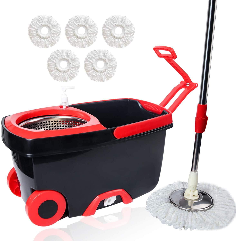 Home Cleaning 360° Spin Microfiber Rotating Mop Bucket Floor Cleaner Handle Head