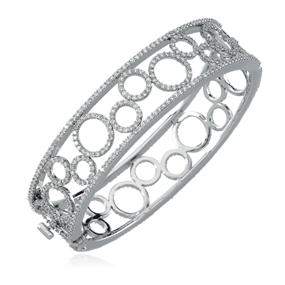 6 7 8 Ctw Diamond & 14k White Gold Circle 16mm Hinged Bangle Bracelet by Black Bow Jewelry Company