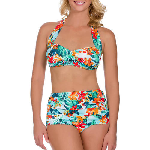 Suddenly Slim By Catalina Women's Slimming High-Waisted Bikini Two-Piece Set