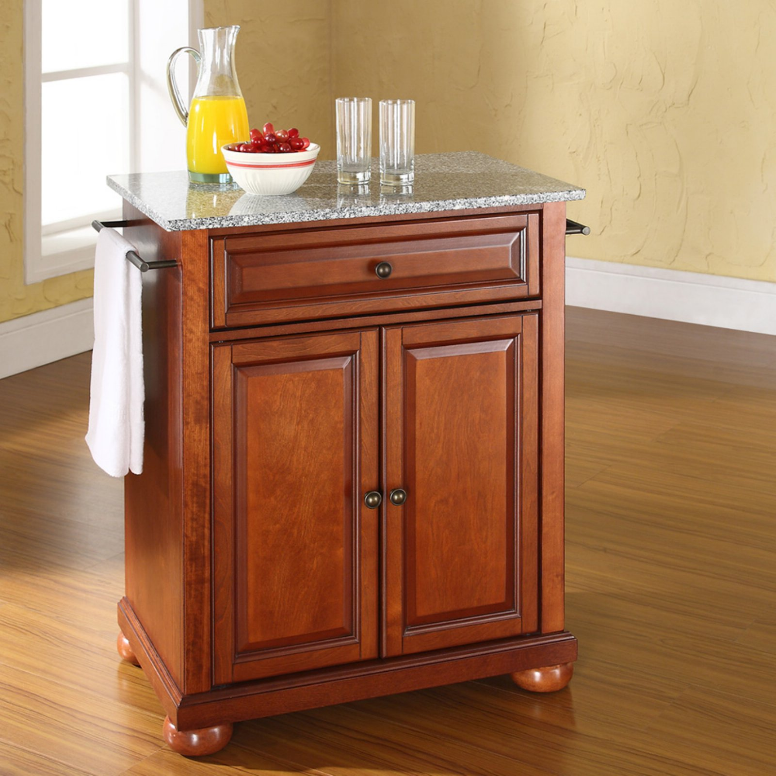 crosley furniture alexandria solid granite top portable