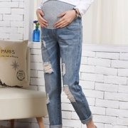 271d138dde6b6 Pregnant Woman Ripped Jeans Maternity Pants Trousers Nursing Prop Belly  Legging Image 9 of 9