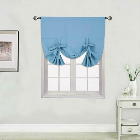 PERFECT DÉCOR 2 IN 1 SET TURQUOISE SOLID TIE UP PANEL VALANCE WINDOW CURTAIN BLACK OUT THERMAL INSULATED ROD POCKET EFFICIENT ENERGY 46