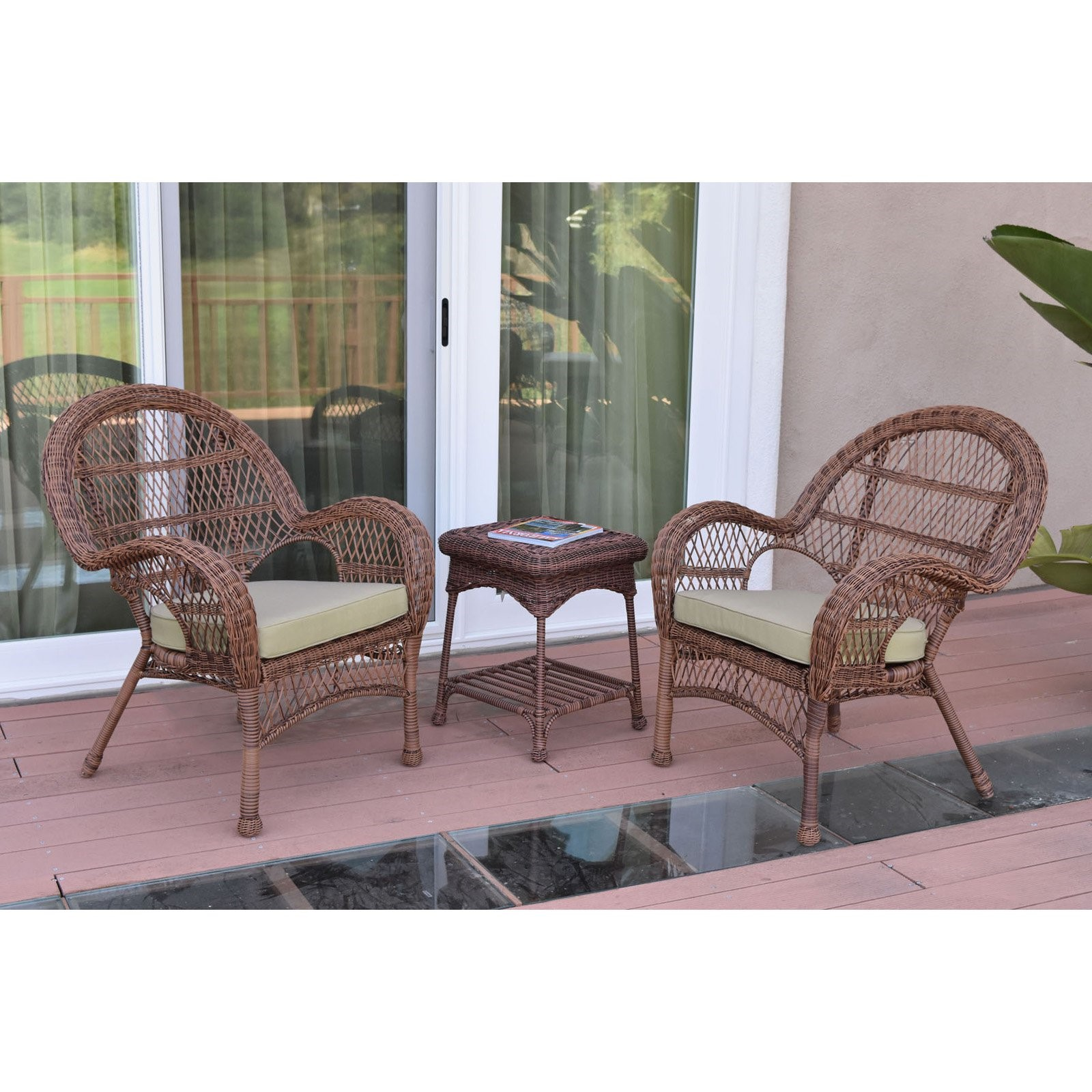 Jeco 3 Piece Santa Maria Wicker Chair Set