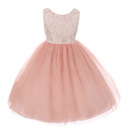 Kids Dream Girls Dusty Rose Lace Tulle Sleeveless Easter Dress ()