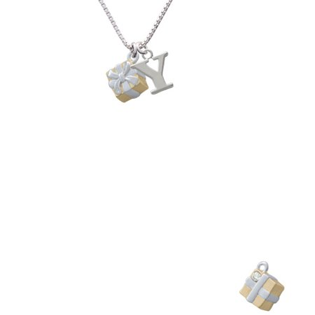 Goldtone 3 D Present With Crystal Capital Initial Y Necklace