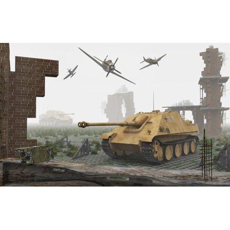 American P-47 fighter planes attacking German Jagdpanther tanks Canvas Art - Mark StevensonStocktrek Images (36 x 23)