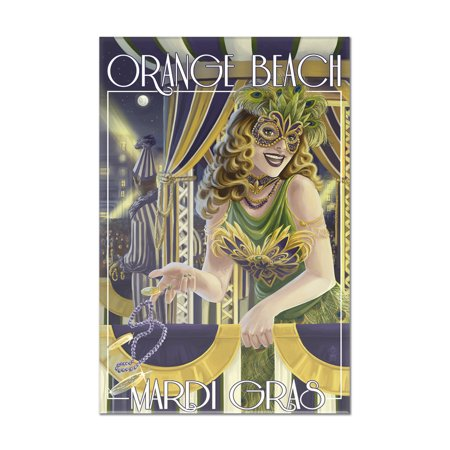 Orange Beach, Alabama - Mardi Gras Girl - Lantern Press Poster (8x12 Acrylic Wall Art Gallery - Alabama Acrylic