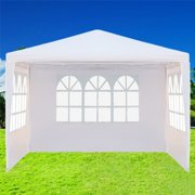 Canopy with 3 Sidewalls, SEGMART 10'x10' Canopy Tent for Outside, Gazebo Canopy Tent, Outdoor Canopy with Stakes/Ropes, Outdoor Gazebo Tent for Party Wedding Patio Camping Beach Backyard, White, H1701