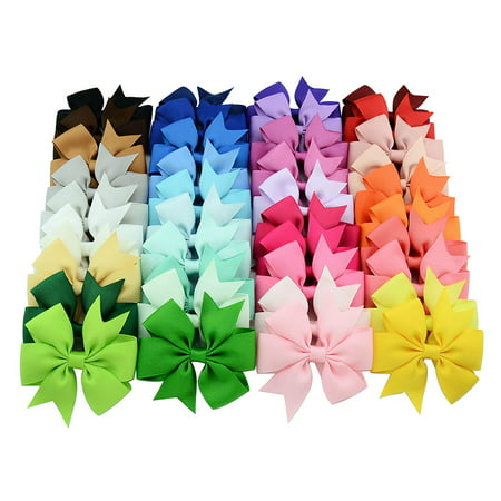 40PCS Handmade Bow Hair Clip Alligator Clips Girls Ribbon Kids Sides (Best Bow Accessories 2019)
