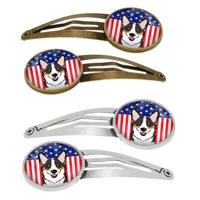 American Flag & Tricolor Corgi Barrettes Hair Clips, Set of 4